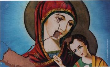 Vierge a l enfant endommagee par des tirs d artillerie durant le siege de homs syrie eglise de la ceinture de la vierge